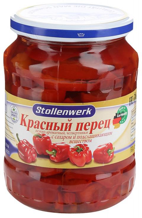 Stollenwerk Красный перец нежно-ароматный четвертинки, 720 г stollenwerk горошек молодой деликатесный 720 мл