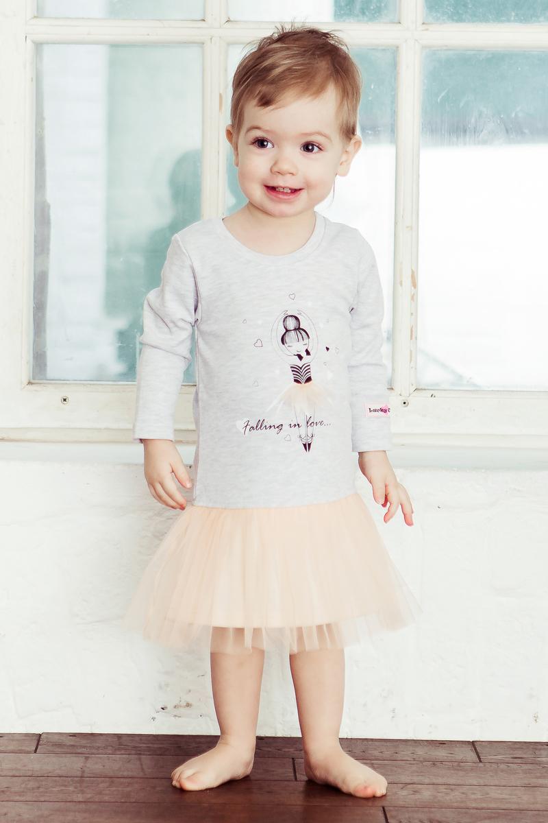 Платье Lucky Child Любимая девочка, цвет: серый. 54-62. Размер 116/12254-62Трогательное платье сдержанного цвета с юбочкой из мягкого фатина придётся по душе не только юным любительницам сказок о принцессах, но и маленьким разбойницам. Всё дело в том, что платье из коллекции Любимая девочка невероятно удобное, благодаря лёгкому хлопку и эргономичному крою. А ещё оно очень привлекательное благодаря юбочке и принту с лёгкой грациозной балериной. Куда бы ваша малышка его ни надела, она везде окажется в центре внимания!