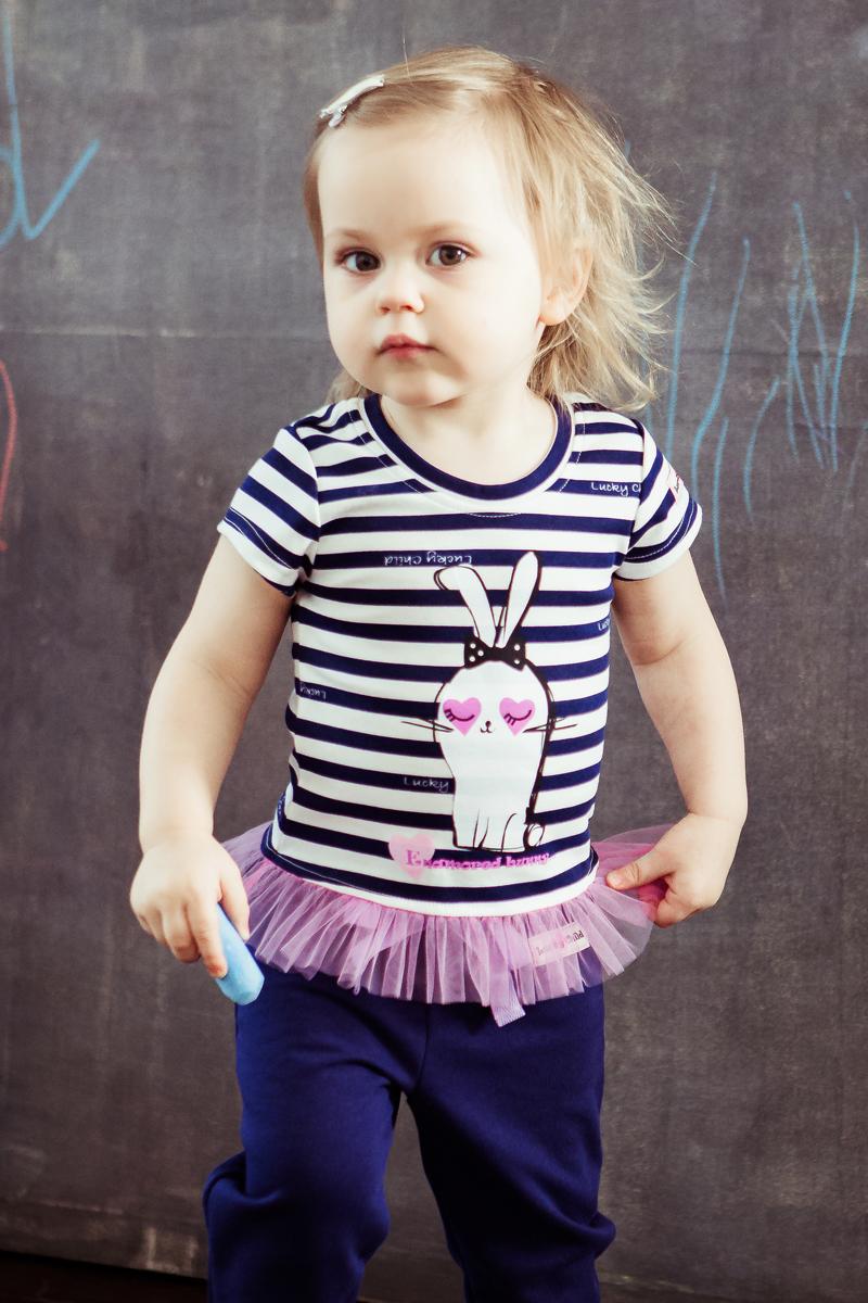 Футболка для девочки Lucky Child, цвет: синий, молочный, светло-сиреневый. 54-26/цв. Размер 74/80 кофточка детская lucky child ангелы цвет коричневый 17 18 размер 74 80