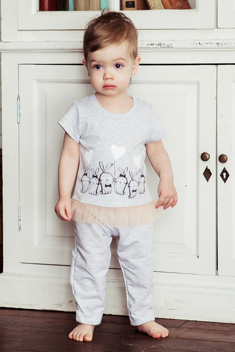 Футболка для девочки Lucky Child, цвет: серый. 54-26. Размер 74/80 кофточка детская lucky child ангелы цвет коричневый 17 18 размер 74 80