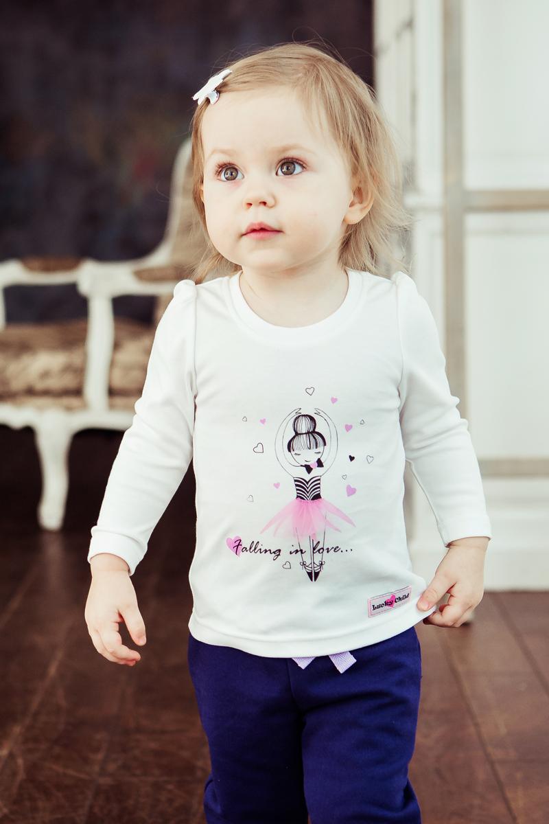 Кофта для девочки Lucky Child Любимая девочка, цвет: молочный. 54-16. Размер 128/13454-16Футболка с длинным рукавом из коллекции Любимая девочка нежного цвета станет прекрасной базовой вещью для любого гардероба. Эргономичный крой, плоские швы и лёгкий прочный хлопковый материал гарантируют максимальный комфорт даже самым активным принцессам.