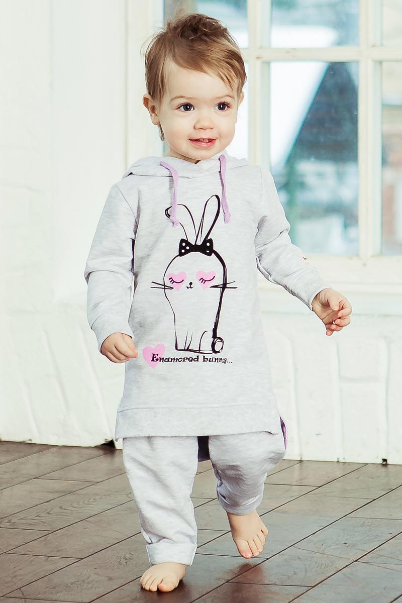 Платье Lucky Child Любимая девочка, цвет: серый. 54-66ф. Размер 128/134 толстовки и кофты