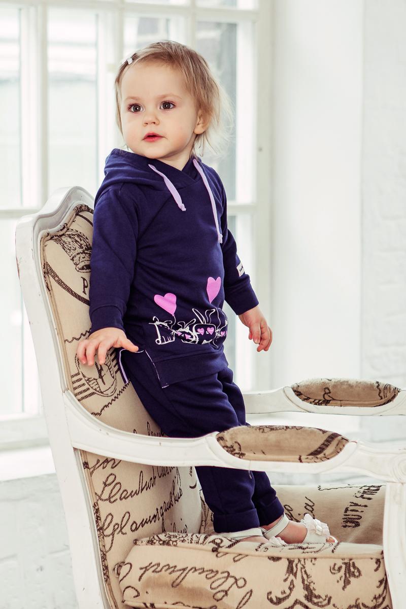 Туника Lucky Child Любимая девочка, цвет: синий. 54-66пф/цв. Размер 128/134 толстовки и кофты
