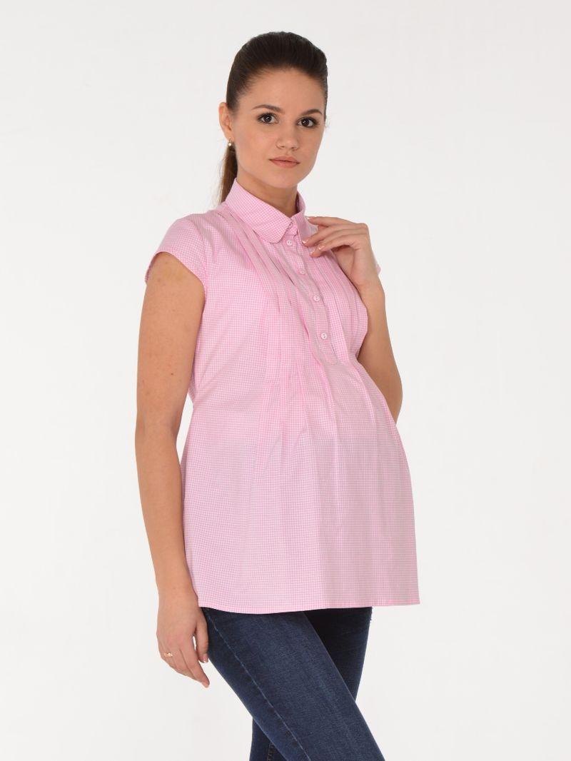 Блузка для беременных BuduMamoy, цвет: розовый. RI BL 644 TL 637. Размер 48RI BL 644 TL 637Женственная блузка из хлопковой ткани для будущих мам. Изделие с короткими рукавами, застежкой на пуговицы, отложным воротничком и защипами по переду, переходящими в складки. Отличный вариант как в офис, так и на каждый день! Блузка привнесет в образ нотки романтичности и нежности. Длина изделия по спинке 68см.