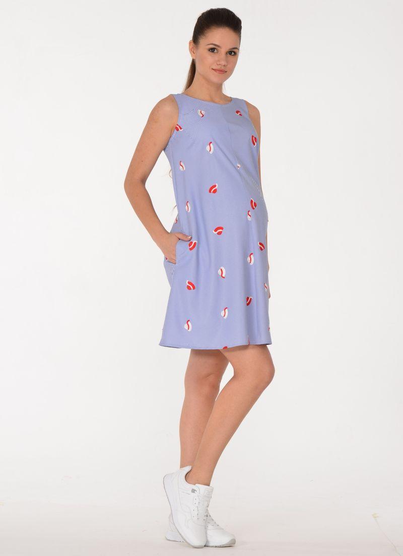 Платье для беременных BuduMamoy, цвет: голубой. RI PL 1568 TL 656. Размер 46 комбинезон для беременных budumamoy цвет синий ju km 1263 tl 584 размер 50