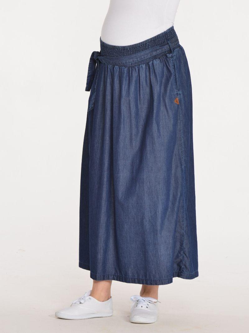 Юбка для беременных BuduMamoy, цвет: синий. JU UB 1532 TL 584. Размер 46JU UB 1532 TL 5842 в 1 Длинная свободная юбка для будущих мам. Выполнена из мягкой ткани, с высоким бандажом, собранным на эластичную нить и поясом из основной ткани. Для удобства в боковых швах предусмотрены карманы.