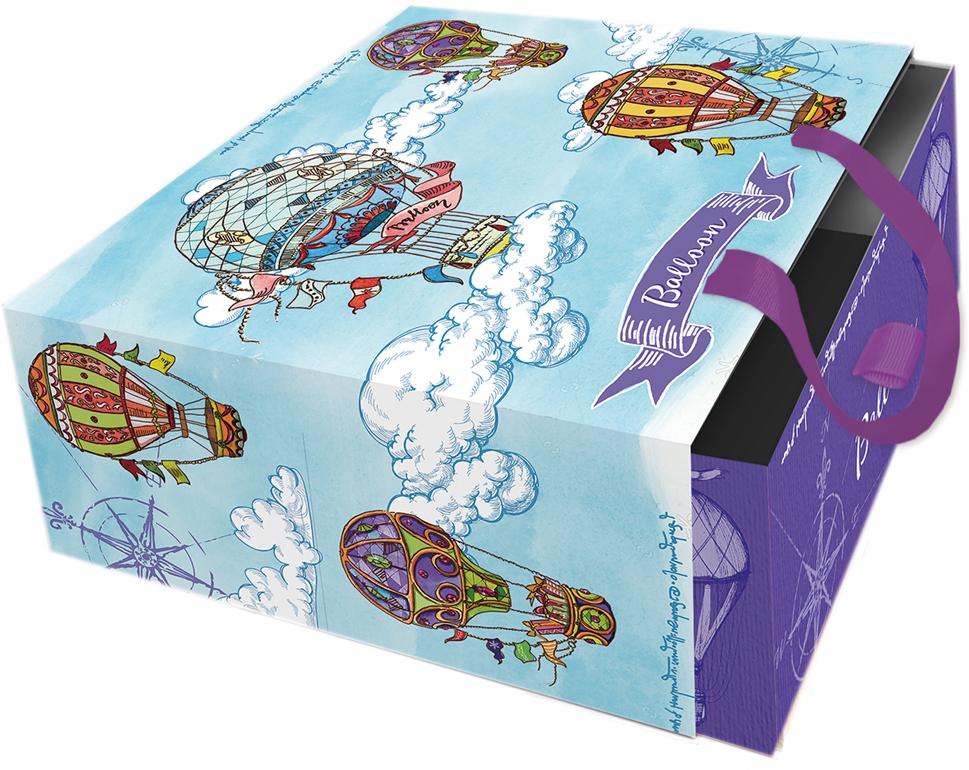Подарочная коробка Яркие дирижабли из мелованного, ламинированного, негофрированного картона плотностью 1100 г/м2, с полноцветным декоративным рисунком на внутренней и наружной части, с ручкой-лентой из тесьмы (полиэстер). Окружите близких людей вниманием и заботой, вручив презент в нарядном, праздничном оформлении!