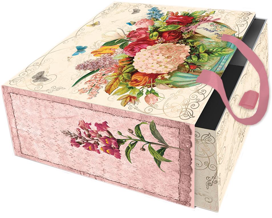 Подарочная коробка Гортензия из мелованного, ламинированного, негофрированного картона плотностью 1100 г/м2, с полноцветным декоративным рисунком на внутренней и наружной части, с ручкой-лентой из тесьмы (полиэстер). Окружите близких людей вниманием и заботой, вручив презент в нарядном, праздничном оформлении!