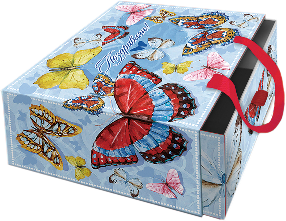 Подарочная коробка Тропические бабочки из мелованного, ламинированного, негофрированного картона плотностью 1100 г/м2, с полноцветным декоративным рисунком на внутренней и наружной части, с ручкой-лентой из тесьмы (полиэстер). Окружите близких людей вниманием и заботой, вручив презент в нарядном, праздничном оформлении!