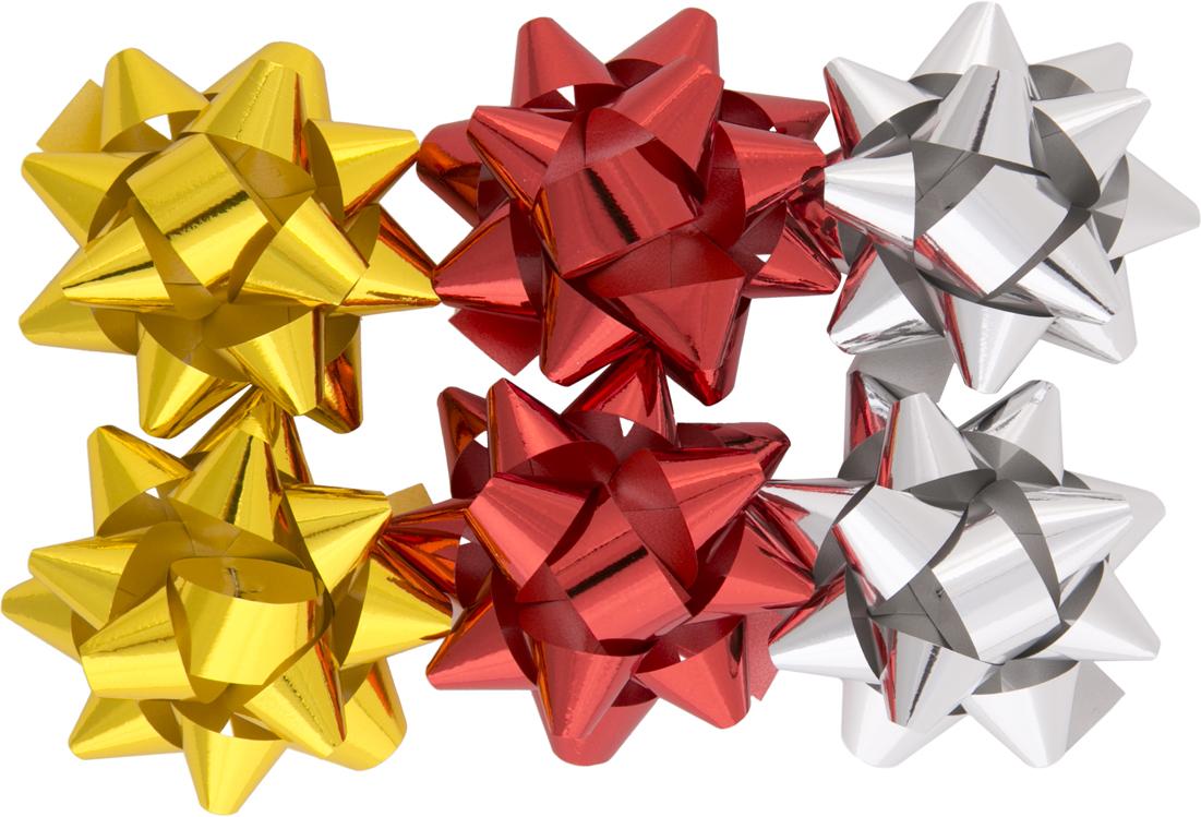 Бант – объемный и сверкающий, добавит оригинальности любому подарку. Поиграйте с формой и цветом, проявите свою фантазию! Окружите близких людей вниманием и заботой, вручив презент в нарядном, праздничном оформлении! Декоративный бант из полиэтилентерефталата на клеевом основании, размером 1,2*6см, для оформления подарков, (6 шт в наборе).