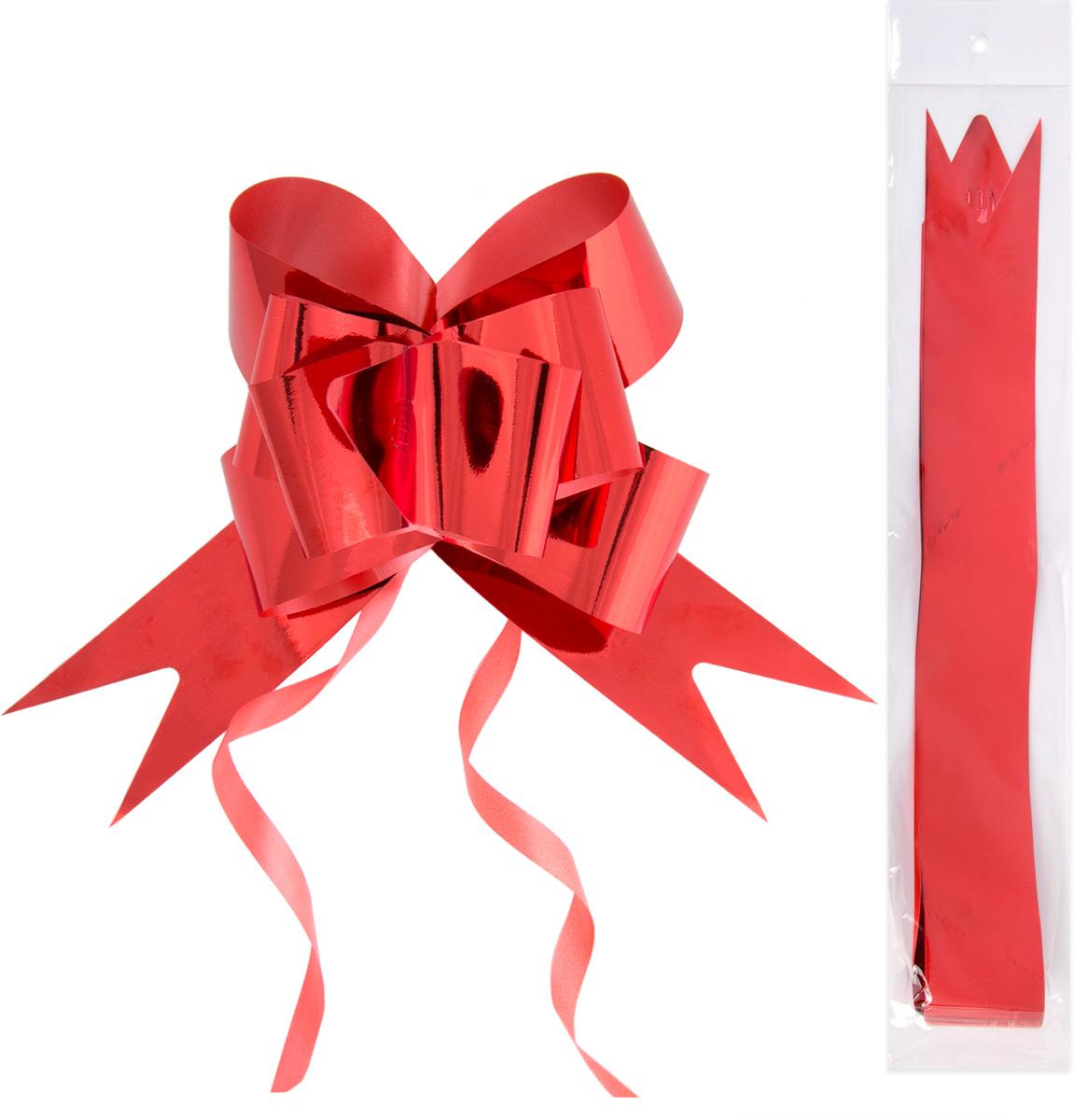 Бант декоративный Magic Home, для оформления подарков. 7698776987Бант – объемный и сверкающий, добавит оригинальности любому подарку. Поиграйте с формой и цветом, проявите свою фантазию! Окружите близких людей вниманием и заботой, вручив презент в нарядном, праздничном оформлении! Декоративный бант из полиэтилентерефталата, затягивающийся, с кольцами из поливинилхлорида для оформления подарков, шириной 5 см, длиной 85 см.