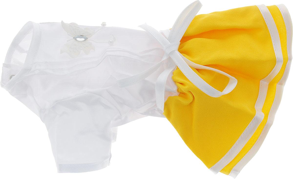 Платье для собак Pret-a-Pet Летнее ассорти, цвет: желтый. Размер S комбинезон для собак pret a pet цвет белый красный размер xs