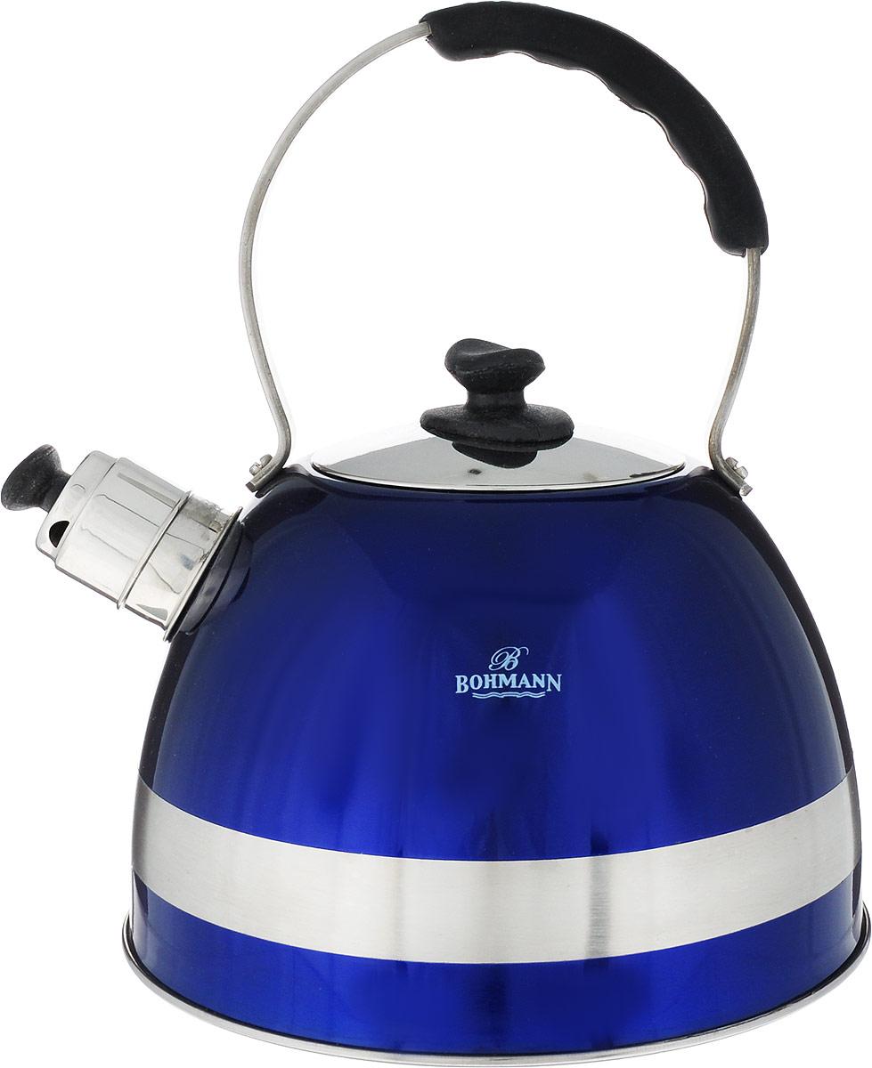 Чайник Bohmann, со свистком, цвет: синий, 2,5 л