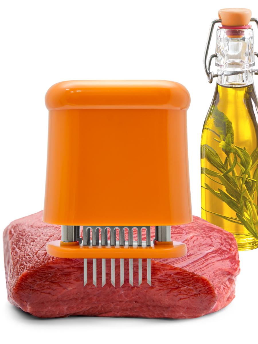 """Тендерайзер для мяса """"Borner"""" подходит для размягчения и маринования кусков мяса, филе птицы или рыбы.  56 лезвий из нержавеющей стали.  Оснащен системой """"Замок безопасности"""".  Можно мыть в посудомоечной машине.   Тендерайзер - это современный инструмент кулинара, который позволяет добиться идеального и моментального результата.   Профессиональная обработка и размягчение мяса;  Глубокое введение специи и сокращение времени маринования;  Снижение потери сока и оптимальное прожаривание;  Сокращение времени приготовления;  Бесшумная и чистая работа.  Тендерайзер - производное слово от английских """"tender"""" (нежный, деликатный) и """"rise"""" (подъем, увеличение). Именно с помощью тендерайзера вы  сможете сделать стейк в ресторанной подаче: объемный и при этом сочный и нежный.  Тендерирование препятствует выгибанию и скукоживанию мяса во время жарки. Прорези способствуют быстрому проникновению маринада.  Идеальный результат гарантирован!"""