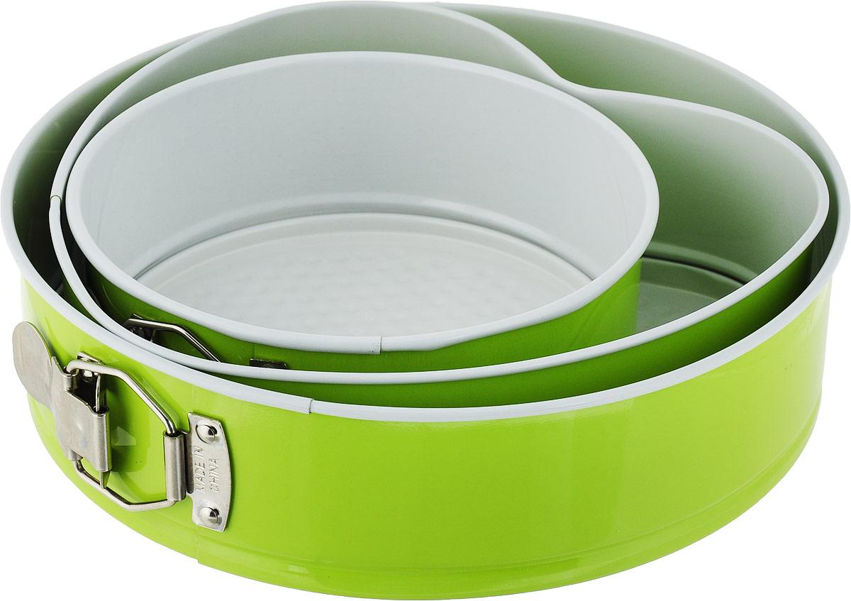 Набор разъемных форм для выпечки Доляна Флери. Круг, с керамическим покрытием, цвет: зеленый, 3 предмета набор посуды korkmaz serena c керамическим покрытием цвет бежевый 3 предмета