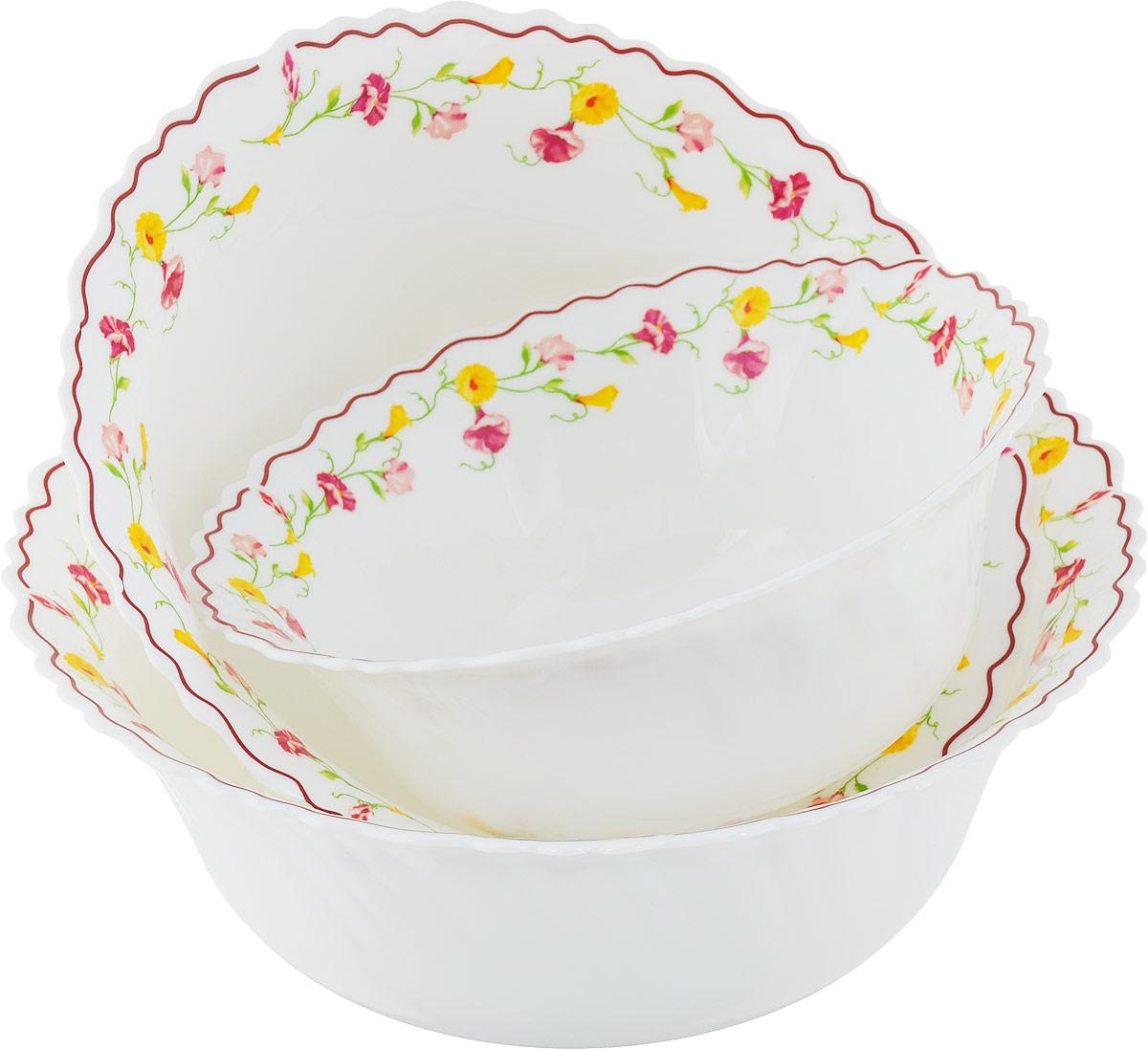 """Стильный набор салатников """"ЭЛЬЗАС"""" 3 пр.  Из тонкой стеклокерамики с цветочным рисункомНабор салатников """"ЭЛЬЗАС"""" 3 пр.: салатник 17, 5 см, 20 см, 22,5 см"""