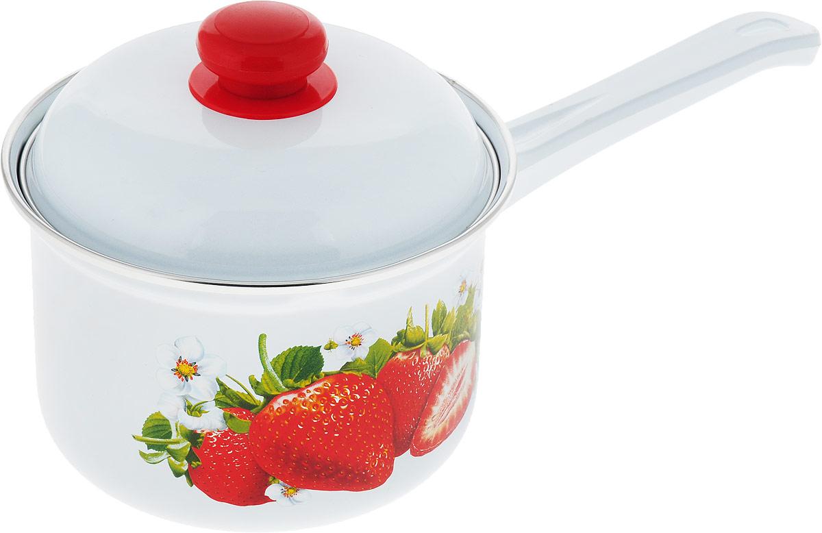 Ковш Лысьвенские эмали Овощи, с крышкой, 1,5 лС-1608АП/4_белый, овощи