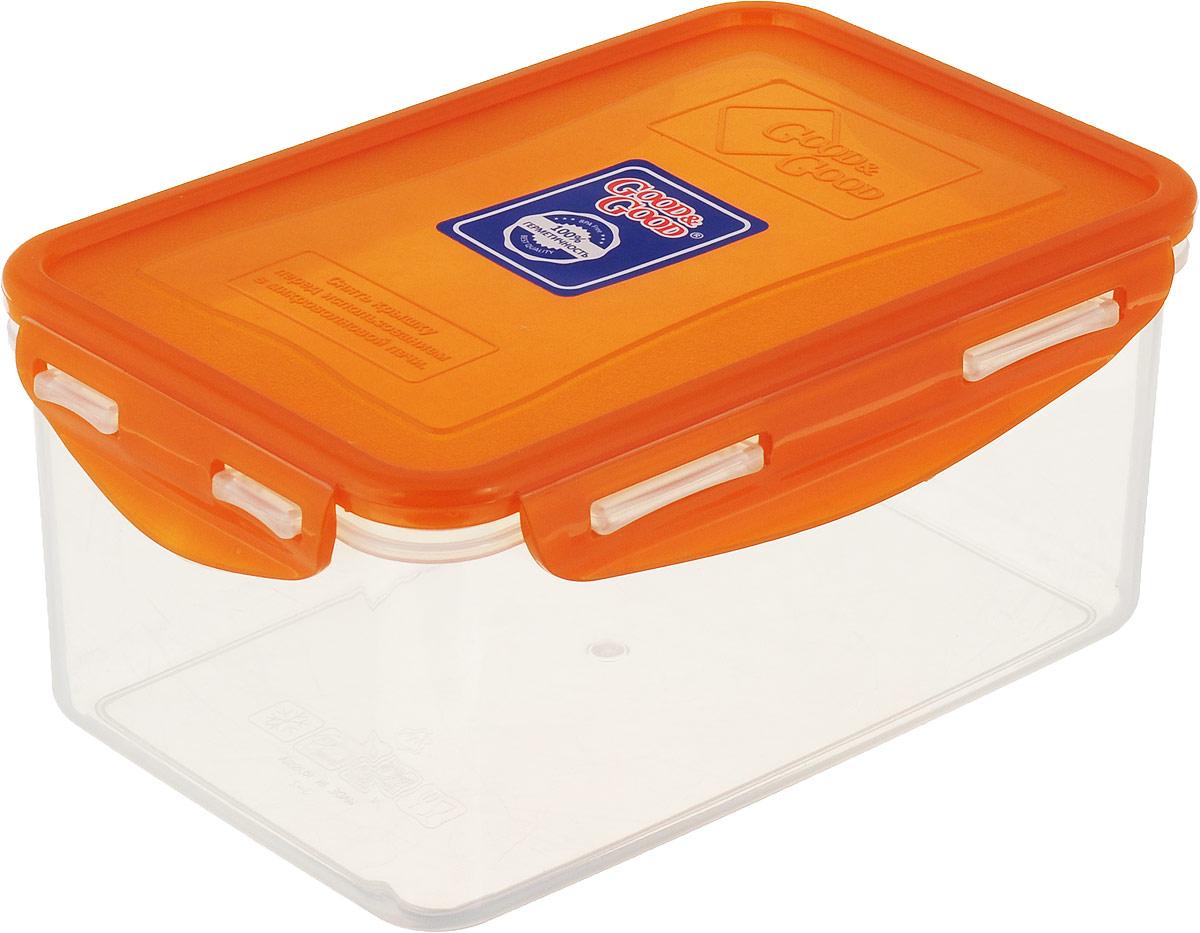 Контейнер пищевой Good&Good, цвет: прозрачный, оранжевый, 1,5 л