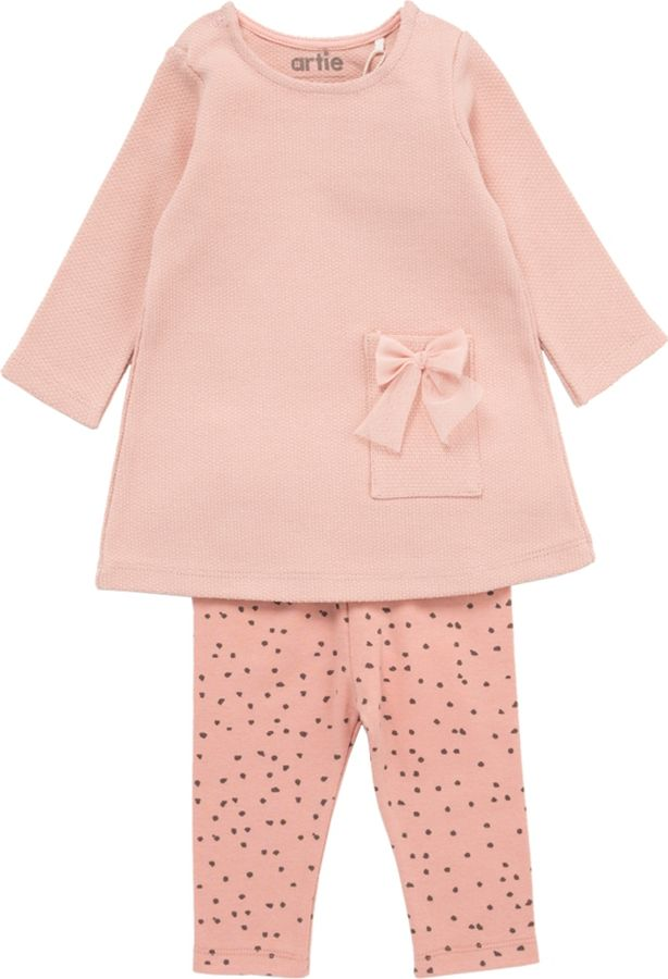 Комплект одежды для девочки ARTIE: платье, брюки, цвет: розовый. 018019 роз/роз. Размер 86 укрытие для роз shelterlogic 1м