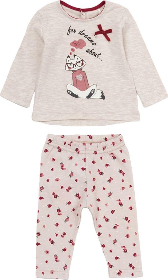 Комплект одежды для девочки ARTIE: футболка, брюки, цвет: бежевый. 014022 беж/беж. Размер 86 брюки olbe цвет бежевый