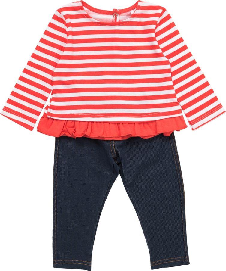 Комплект одежды для девочки ARTIE: футболка, брюки, цвет: коралловый, синий. 009012 корал-пол/син. Размер 74009012 корал-пол/син
