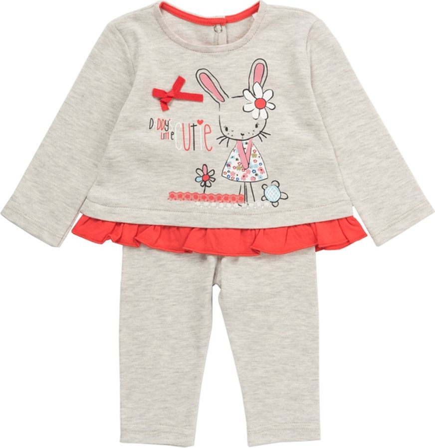 Комплект одежды для девочки ARTIE: футболка, брюки, цвет: серый, бежевый. 001002 сер/беж. Размер 86