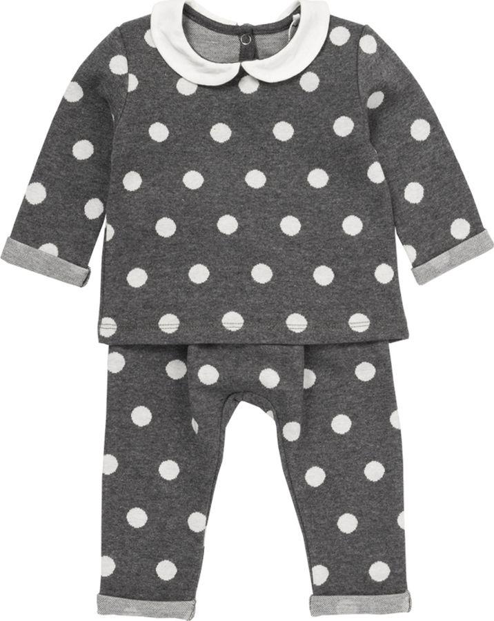 Комплект одежды для девочки ARTIE: футболка, брюки, цвет: серый, белый. 089 сер-бел. Размер 68089 сер-бел