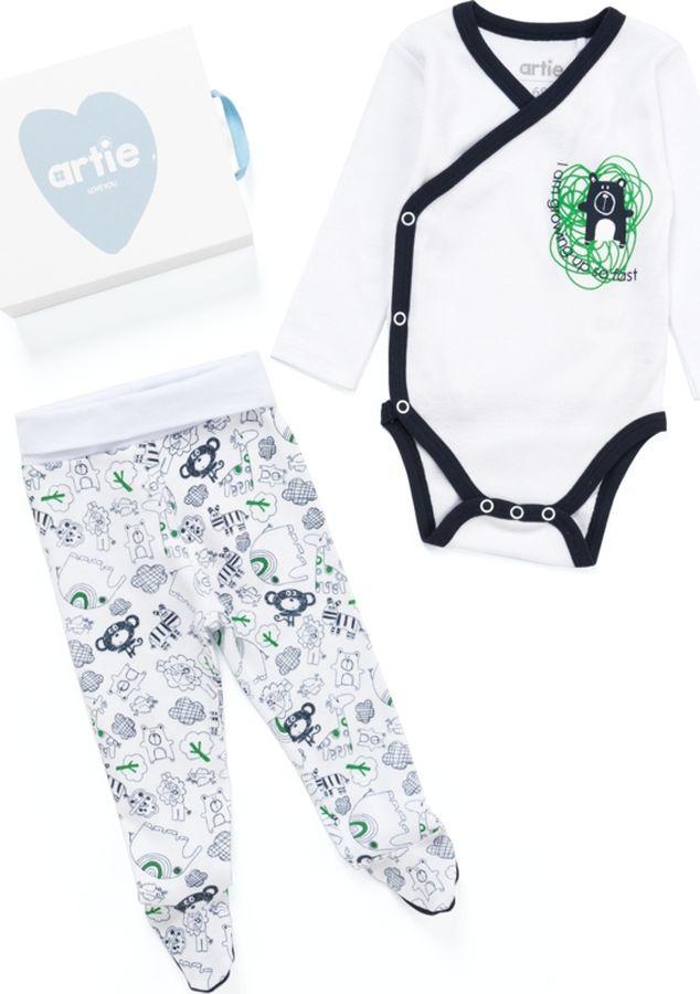 Комплект одежды для мальчика ARTIE: боди, ползунки, цвет: белый. 032033к бел/бел. Размер 86 боди для мальчика spasilk цвет белый голубой зеленый 4 шт on s4hs2 размер xxl 18 месяцев