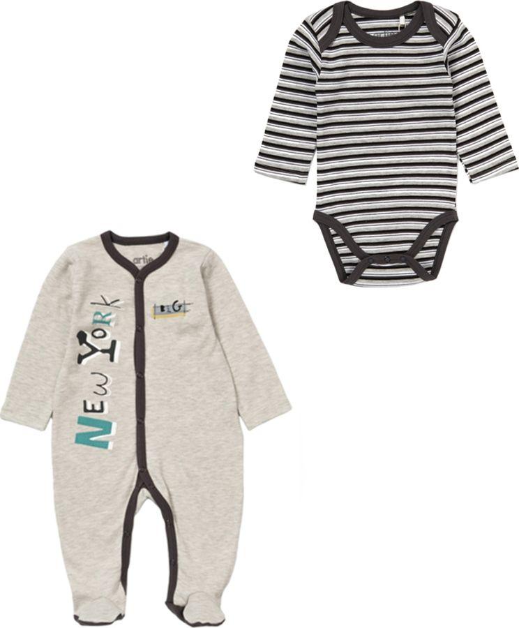 Комплект одежды для мальчика ARTIE: комбинезон, боди, цвет: серый. 045057 сер/сер-пол. Размер 86 комбинезоны и полукомбинезоны artie комбинезон для мальчика friends ak 094m