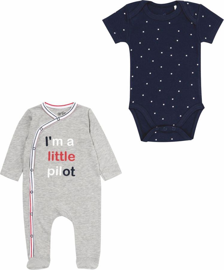 Комплект одежды для мальчика ARTIE: комбинезон, боди, цвет: темно-синий, серый. 062072 темно-син/сер. Размер 86 лонгслив lovedo для мальчика цвет синий темно синий