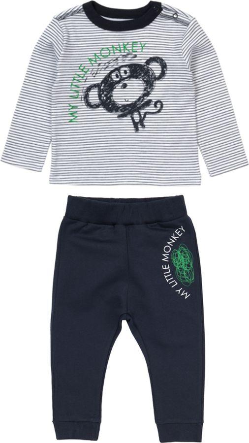 Комплект одежды для мальчика ARTIE: футболка, брюки, цвет: серый, темно-синий. 037038 сер/т.син. Размер 86