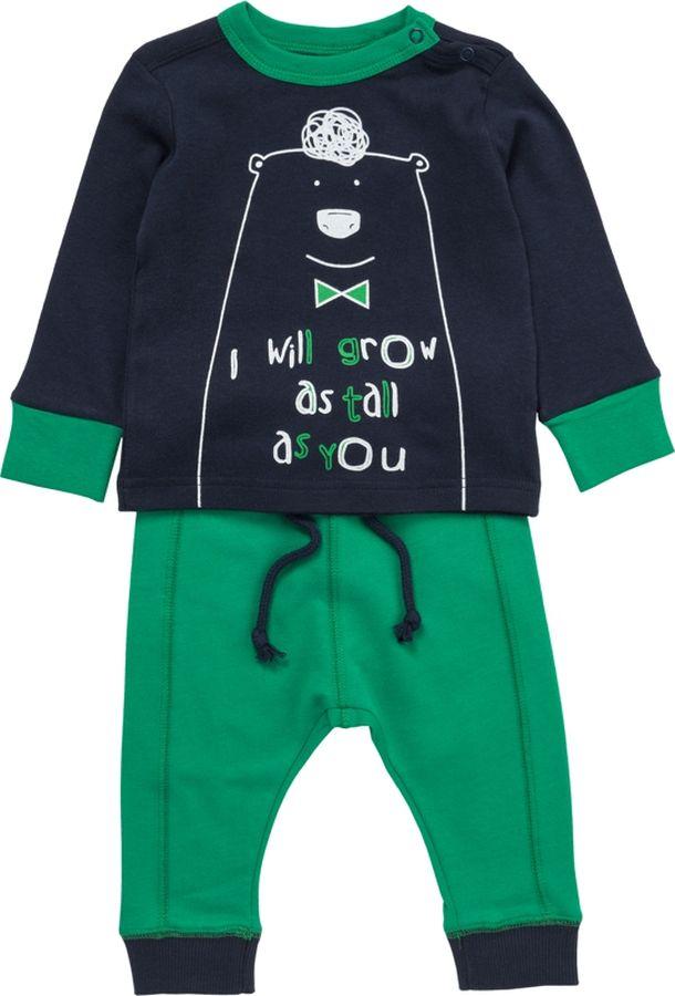 Комплект одежды для мальчика ARTIE: футболка, брюки, цвет: темно-синий, зеленый. 043044 т.син/зел. Размер 62043044 т.син/зел