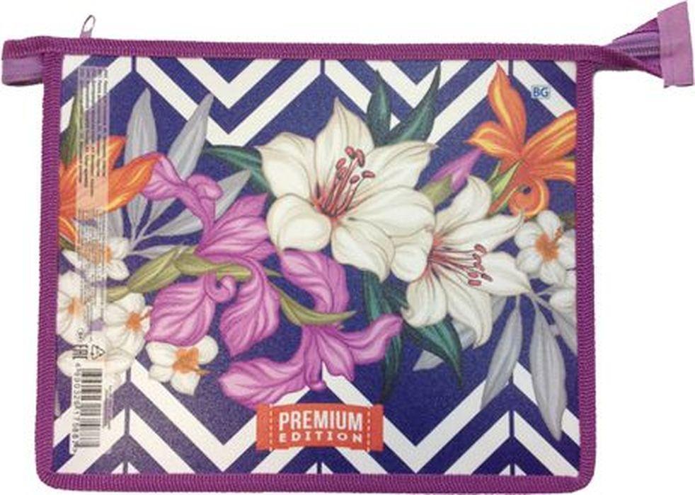 BG Папка для тетрадей Прекрасные цветы 1 отделение на молнии elmos bg 600 dl