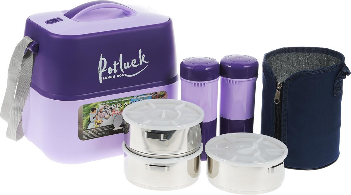 Термо-контейнер для продуктов Mayer & Boch, цвет: фиолетовый, сиреневый, 3,6 л23729Термо-контейнер Mayer & Boch, изготовленный из полипропилена, станет незаменимой вещью для офисных работников, водителей, школьников и студентов. Благодаря двойной стенке и герметичной крышке термо-конейнер сохраняет температуру продуктов в течение 4-5 часов, поэтому вы сможете насладиться теплым обедом и вне дома. Изделие имеет абсолютно герметичную конструкцию. Контейнер идеален для пикников и путешествий. Вы можете носить в нем обеды и завтраки, супы, закуски, фрукты, овощи и другое. Термо-контейнер прекрасно подходит для горячей и холодной пищи. Для более удобной транспортировки изделие оснащено текстильным ремнем. В наборе - 3 стальных контейнера для пищи с пластиковыми крышками, металлическая подставка и съемная ручка для контейнеров, 2 пластиковые емкости для жидкости с крышками, 2 стакана, пластиковые ложка и вилка-ложка. Все предметы компактно и надежно складываются внутрь термо-контейнера. Объем термо-контейнера: 3,6 л. Размер термо-контейнера: 27 см х 19 см х 29 см. Диаметр контейнера для пищи: 14 см. Высота контейнера для пищи (без учета крышки): 6 см. Размер подставки для контейнеров: 10,5 см х 10,5 см х 19 см. Длина съемной ручки для контейнеров: 11 см. Длина ложки/вилки-ложки: 16 см.