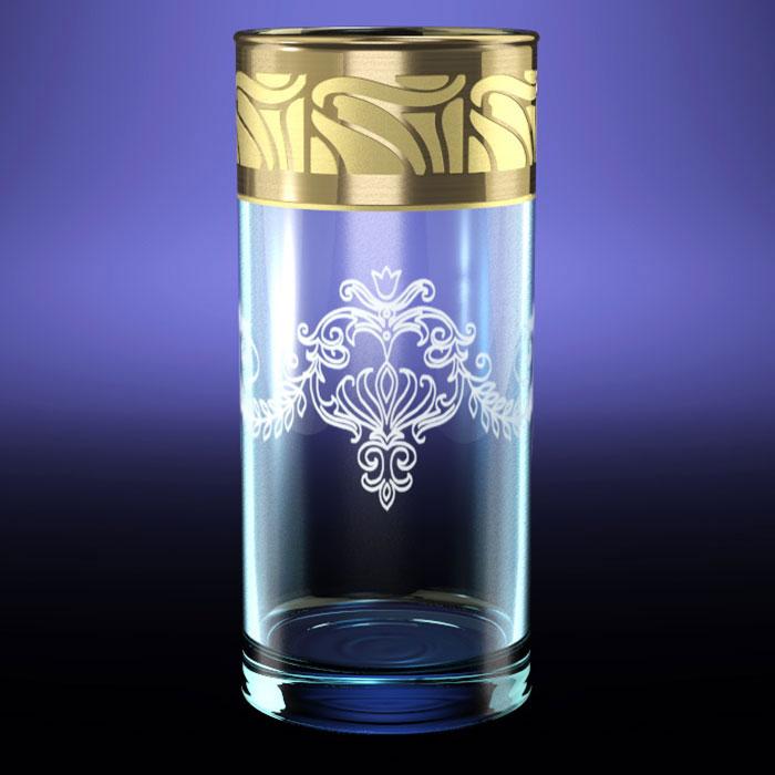 """Набор 6 стаканов """"ГЕО"""" для сока с рисунком """"Мускат"""" Высота — 119 мм. Объем — 350 млМатериал: стеклоТехнология: гравировка, напыление под золото"""