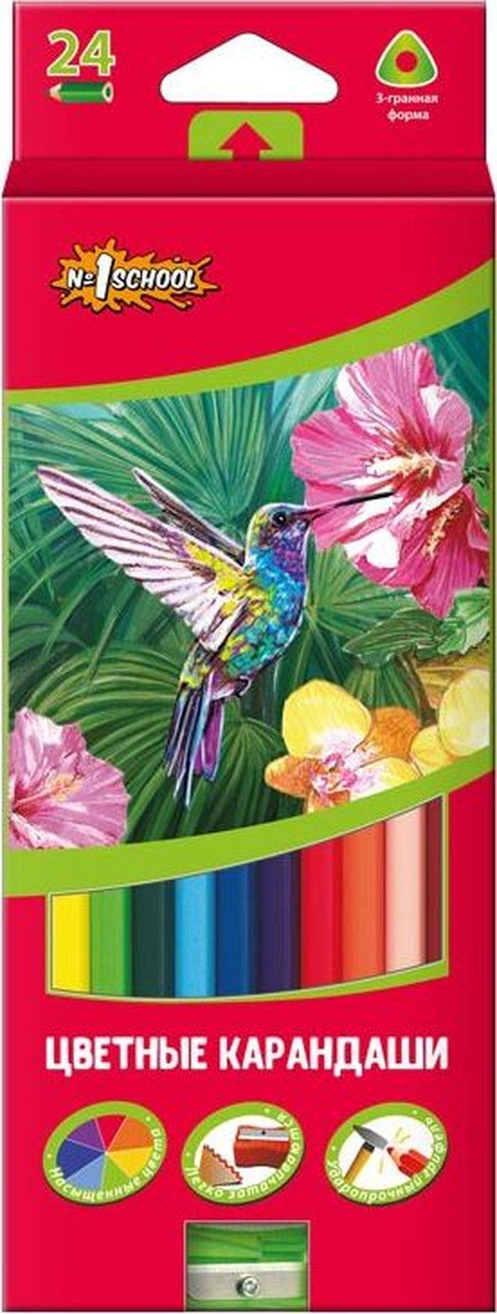 №1 School Набор цветных карандашей ColorPics с точилкой 24 шт 666836 -  Карандаши