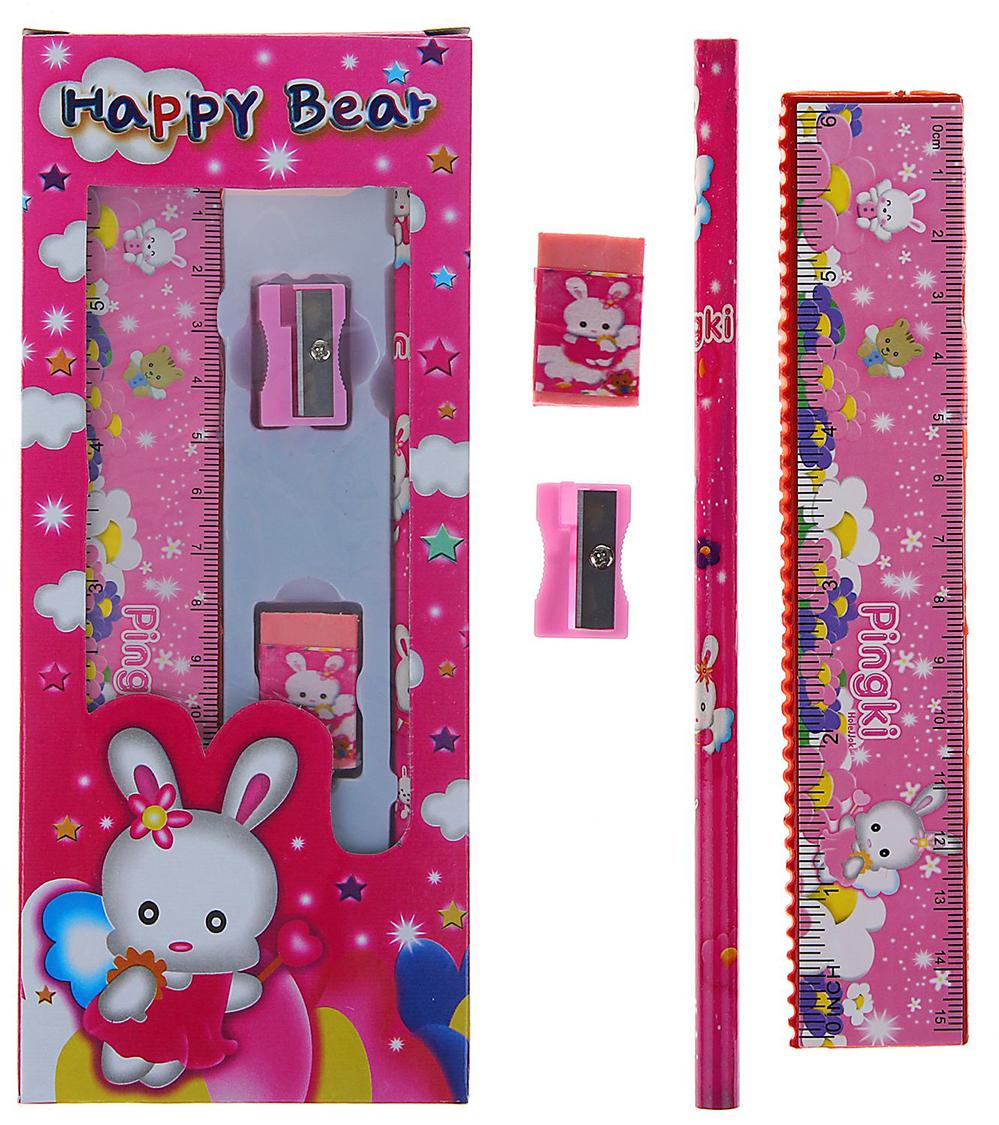 Канцелярский набор цвет розовый 4 предмета 158931158931Красивый, функциональный, а главное нужный набор для вашего ребёнка!В набор входит:Карандаш ч/г; Линейка; Ластик; Точилка.