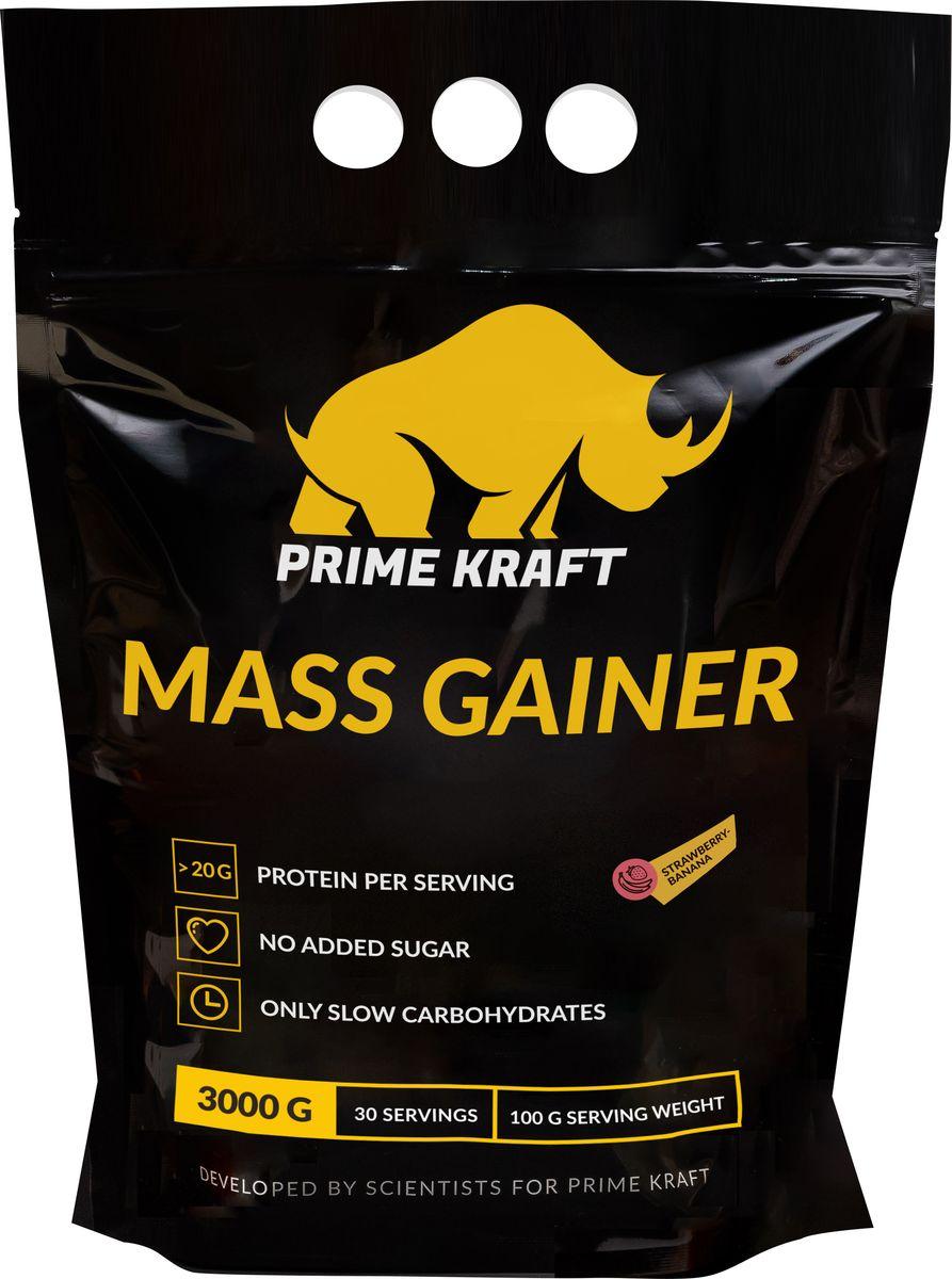 Напиток сухой Prime Kraft Gainer, коктейль белковый, клубника-банан, 3 кг цена