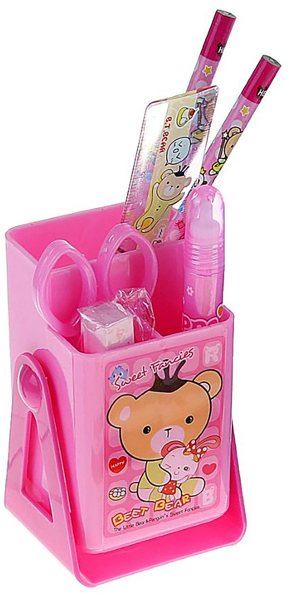 Sweet Fancies Beet Bear Канцелярский набор Мишки цвет розовый 7 предметов 12084061208406Изделия данной категории необходимы любому человеку независимо от рода его деятельности. Канцелярский набор поможет организовать ваше рабочее пространство и время. Востребованные предметы в удобной упаковке будут всегда под рукой в нужный момент.В набор входит: 2кар, лин, ножн, клей, ластик,подставка