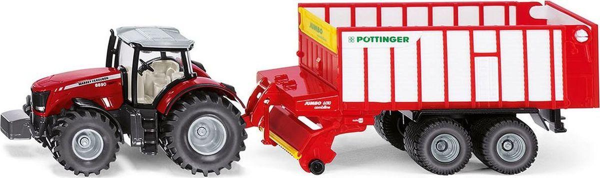 Siku Трактор Massey Ferguson с кузовом Poettinger Jumbo машинки tomy трактор massey ferguson 6613