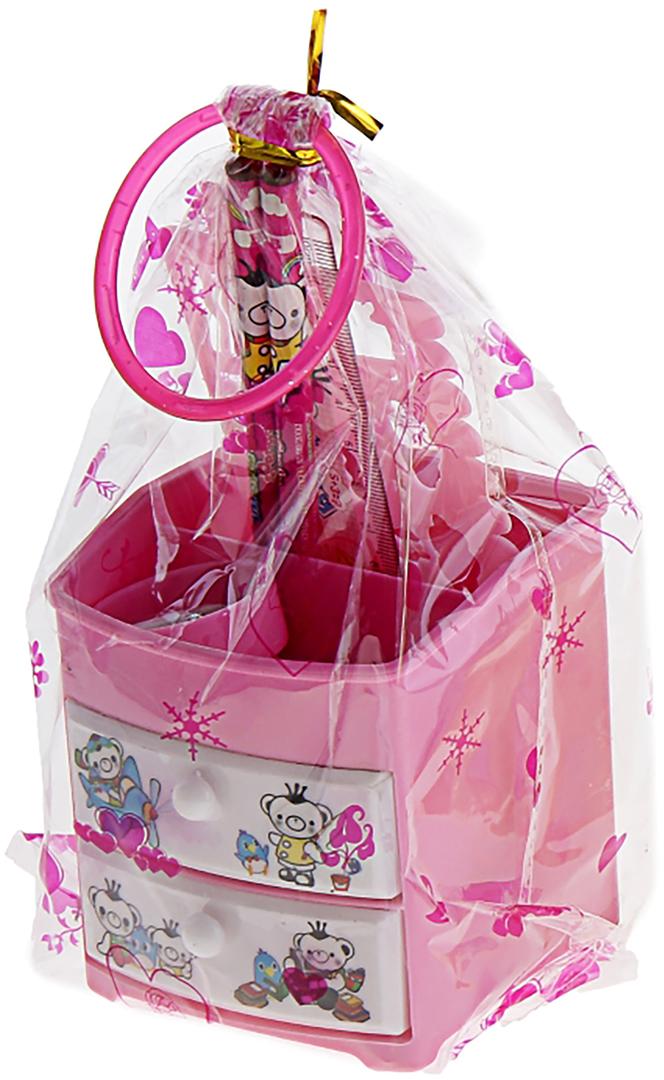 Sweet Fancies Beet Bear Hаppy Канцелярский набор Комодик цвет розовый 6 предметов 679328