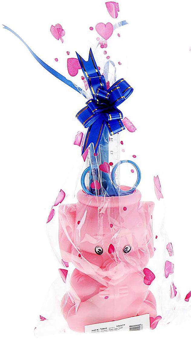 Канцелярский набор Слоник цвет розовый 5 предметов 550129, NoName