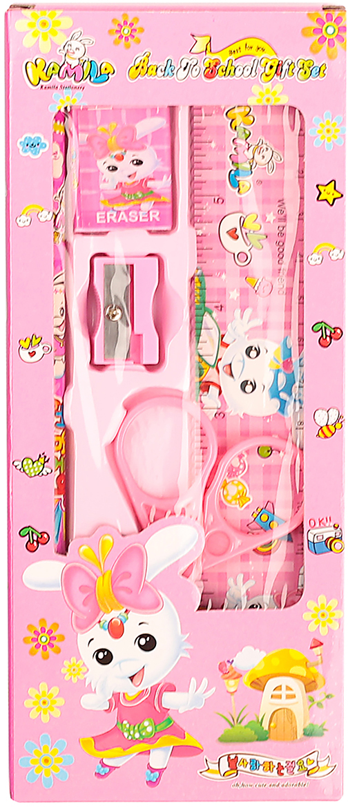 Канцелярский набор цвет розовый 5 предметов 2905941