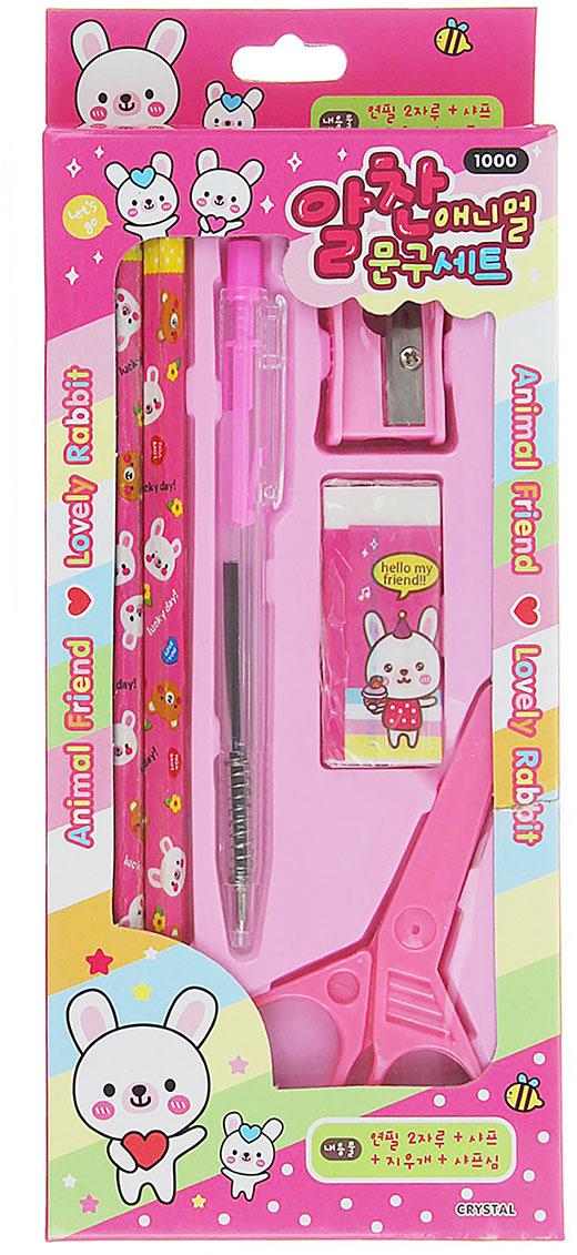 Animal Friend Lovely Bear Канцелярский набор цвет розовый 6 предметов 1208408