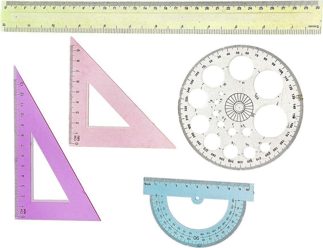 Геометрический набор цвет разноцветный 5 предметов 540590540590Набор геометрический — необходимый инструмент рабочего стола.Набор может понадобиться при изучении любого школьного предмета. Провести прямую линию и начертить отрезок на уроке математики? Легко! Подчеркнуть подлежащее, сказуемое или деепричастный оборот в домашнем задании по русскому языку? Проще простого!Возможности применения этого приспособления широки: оно пригодится как на занятиях в учебном заведении, так и при выполнении работы дома, а также поспособствует развитию начальных навыков черчения!В набор входит: лин-30см, 2угольн, трансп, траф окруж
