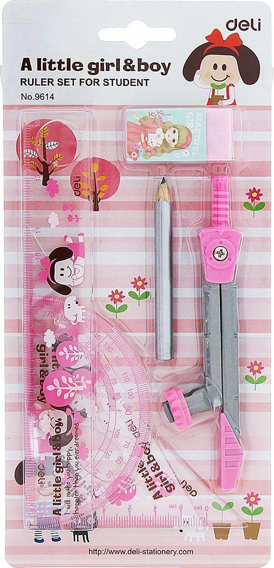 Deli Геометрический набор цвет розовый 7 предметов 1272997