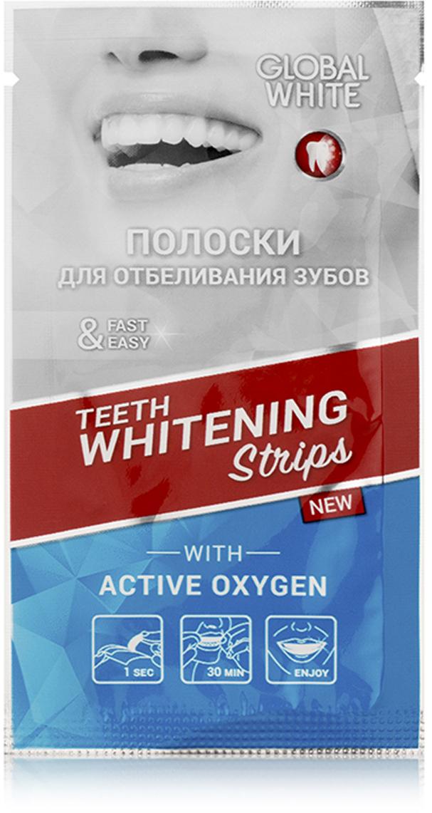 Global WhiteОтбеливающие полоски для зубов с активным кислородом 14 дней, 14 пар Global White