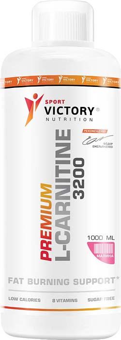 Карнитин Sport Victory Nutrition Premium L-Carnitine 3200, малина, 1 л l карнитин sport victory nutrition premium l carnitine 3600 клубника 25 мл 20 шт