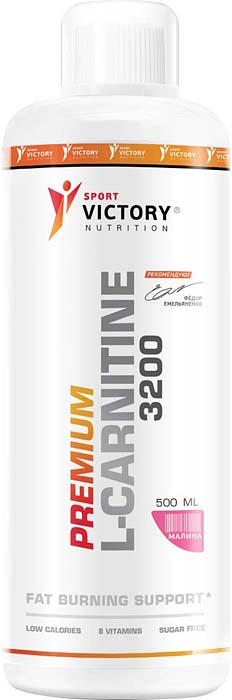 Карнитин Sport Victory Nutrition Premium L-Carnitine 3200, малина, 500 мл жиросжигатели mychoice nutrition жиросжигатель my fitness l carnitine 2700 shot лимон лайм 540 мл