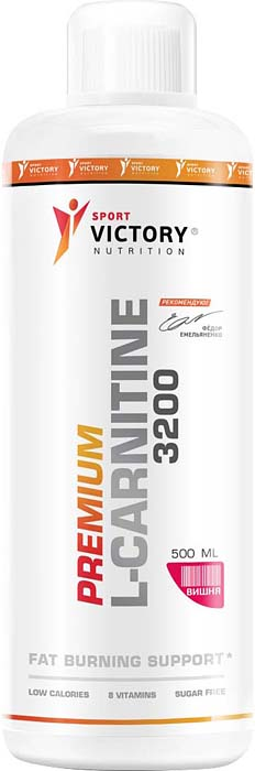 Карнитин Sport Victory Nutrition Premium L-Carnitine 3200, вишня, 500 мл l карнитин atech nutrition l carnitine concentrate 3000 вишня 500 мл